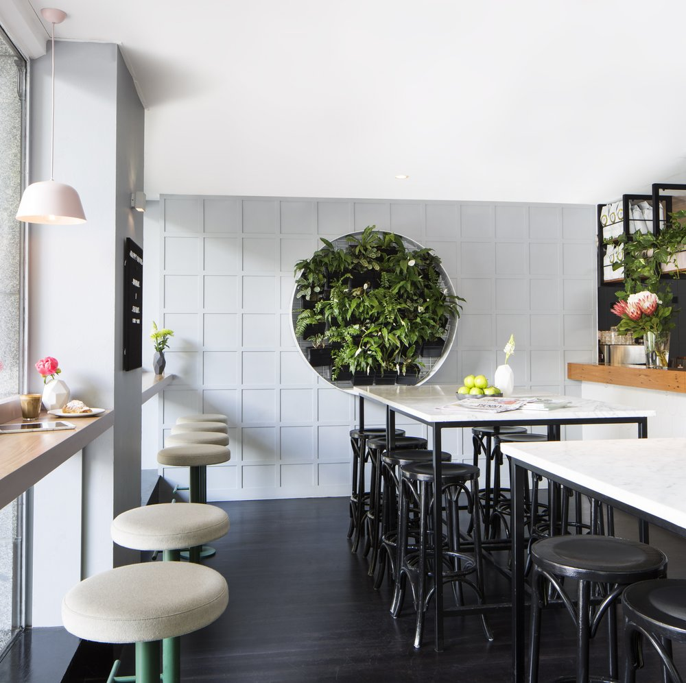 Lello Pasta Bar, Flinders Lane Melbourne.  Image Credits: Stylist - Sarah Elshaug,  Maitland Street Interiors ; Photographer -  Stephanie Rooney    Source Book: Custom Bar Stools -  R  andom Spaces ; Burel Felt on Stools -  Figgoscope Curates ; Small Vases -  Grey Skies ; Circular Vertical Garden -  Paps Vertical Gardens .