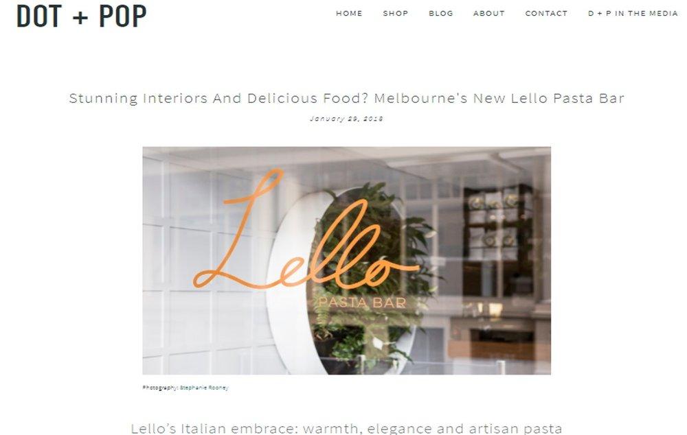 Lello Pasta Bar, Maitland Street Interiors, Sarah Elshaug, Dot+Pop