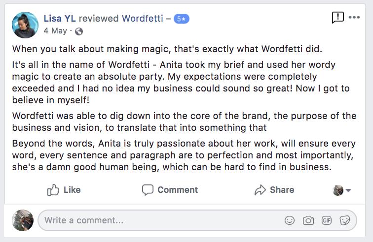 Wordfetti Testimonial LIsa
