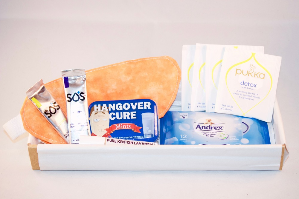 THE HANGOVER BOX A HOMEMADE SLEEPING MASK | A PACKET OF HANGOVER CURE MINTS | A SICK BAG | A PACKET OF ANDREX CLASSIC CLEAN WASHLETS TO GO | 4 DETOX PUKKA TEA BAGS | A LAVANDIN ROLL ON ESSENTIAL OIL | A HANDLING YOUR HANGOVER BOOKLET. Click picture for more...