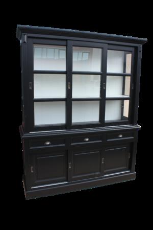 Schuifdeurkast Zwart Glas.Dressoirs Cabinet Kasten Q Time