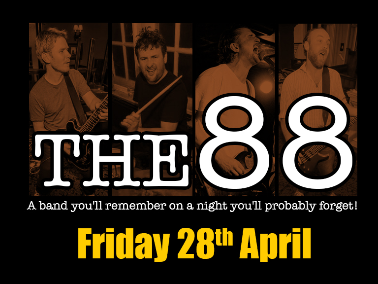Band onstage 10.30pm - Free Entry They are true advocates of live music and are well known for the variety of songs in their set lists and the quality of their performances. A band you'll remember on a night you'll probably forget! www.facebook.com/the88rock