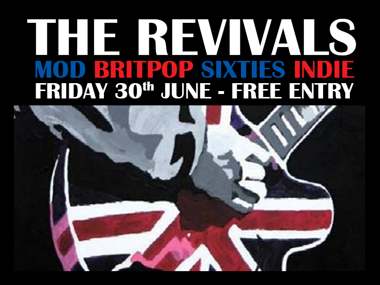 Band onstage at 10.30pm - Free Entry The Revivals are a Herts based Britpop, Mod and 60's covers band. Playing an energetic set of classic hits from the likes of The Beatles and the Small Faces to 90s bands like Oasis and Ocean Colour Scene, The Revivals have something for any fan of British guitar music. The set is a mixture of timeless classics and forgotten gems, never focussing solely on a bands greatest hits, you'll find a few curveballs in there too! With a strong following and a wealth of experience, The Revivals put on a show to remember! Whether you want to jump around, have a dance or just sit back and listen, The Revivals will provide a soundtrack to a memorable night. www.the-revivals.co.uk