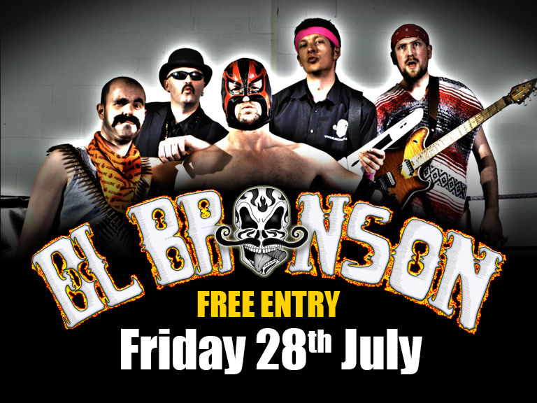 Band onstage at 10.30pm - Free Entry The band who plays what no-else can, in a way no-else would think of. Thundering bass riffs, screaming synth lead, soaring guitar solos, animalistic drumming, electrifying vocals, an incredible seltist and brilliant musicians put El Bronson a cut above the rest. Wireless instruments, audience interaction, high energy music, Mexican dress, free tequilla, a mysterious masked lead singer. Cover's The Prodigy, Pendulam, Slipknot, Drowning Pool, Spiderbait, Van Halen, Velvet Revolver, Weezer, QOTSA, Rammstein, HBlockx, Audioslave etc El Bronson are becoming a firm Horn favourite, it's all so wrong it's brilliant... www.elbronson.co.uk