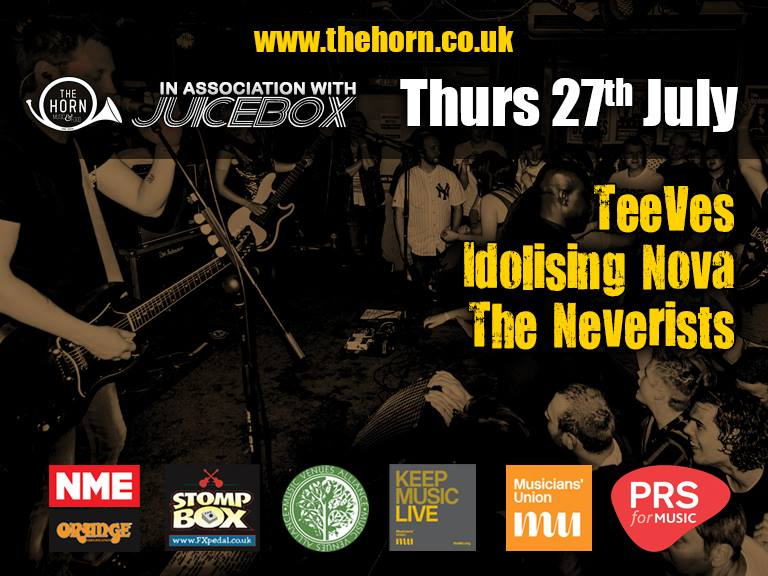 TeeVes  IDOLISING NOVA  The Neverists Tickets £4 Adv / £6 Door - ONSALE NOW Ages 14+ (Under 18s to be accompanied by a guardian) Tickets may be available on the door but we strongly advise you purchase them in advance to avoid disappointment