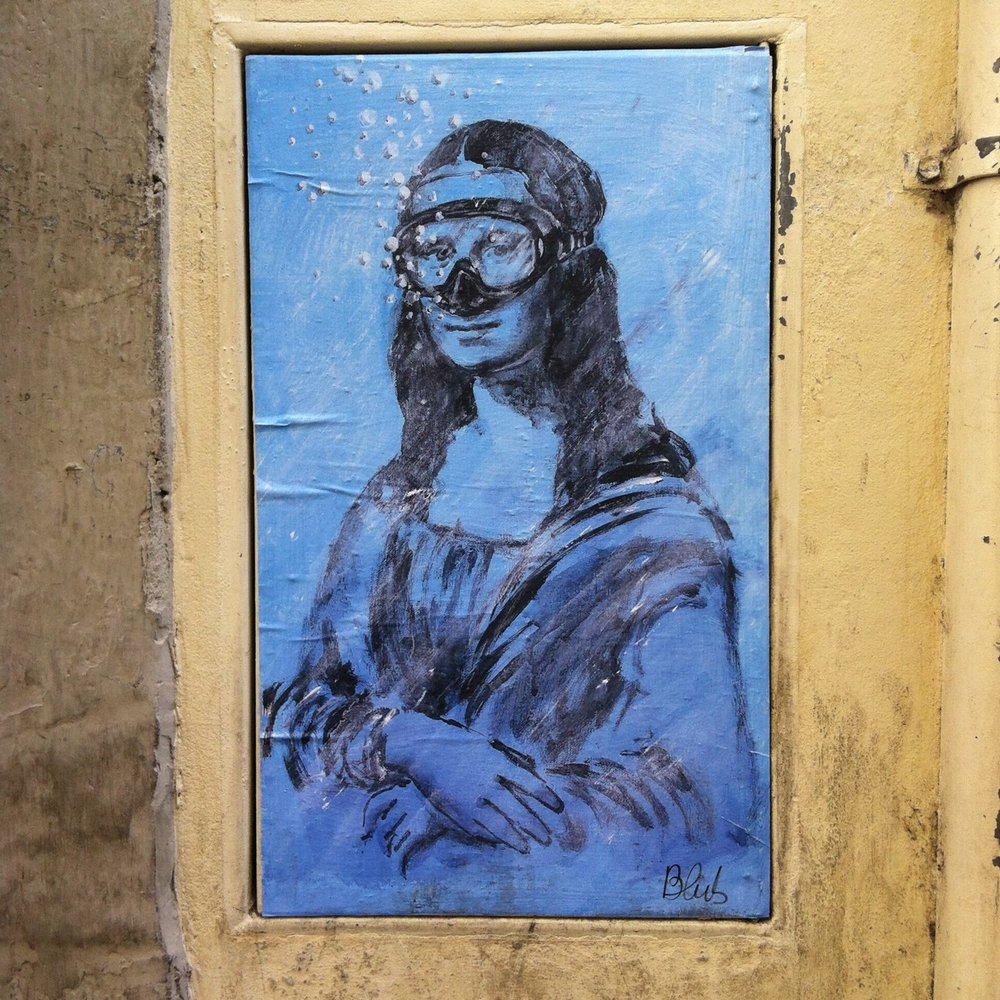 A street art version of the Mona Lisa from artist Blub
