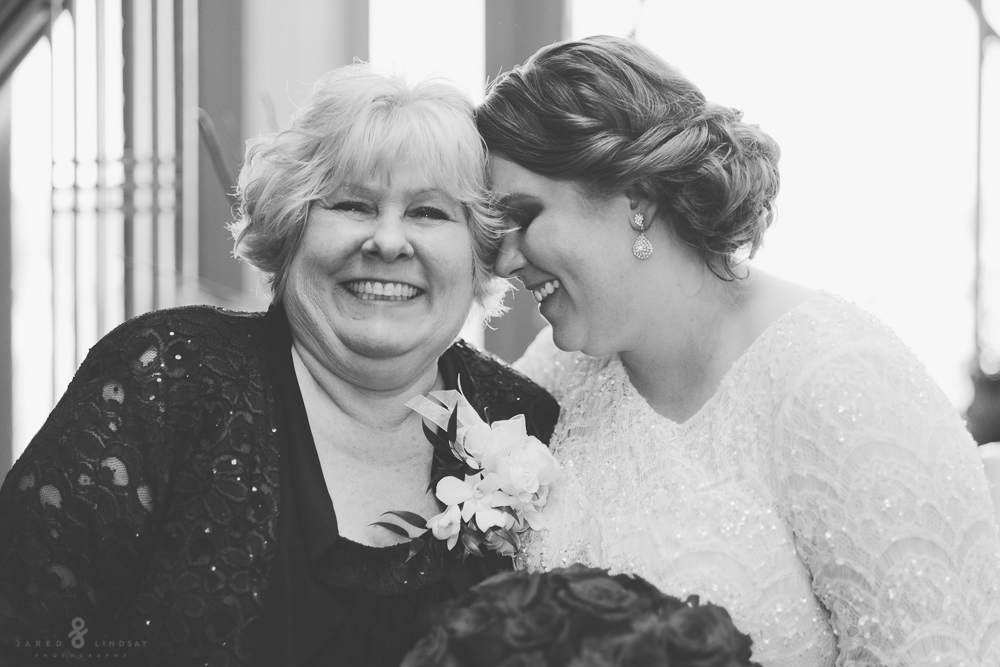 Bride and mother sharing a happy moment at wedding
