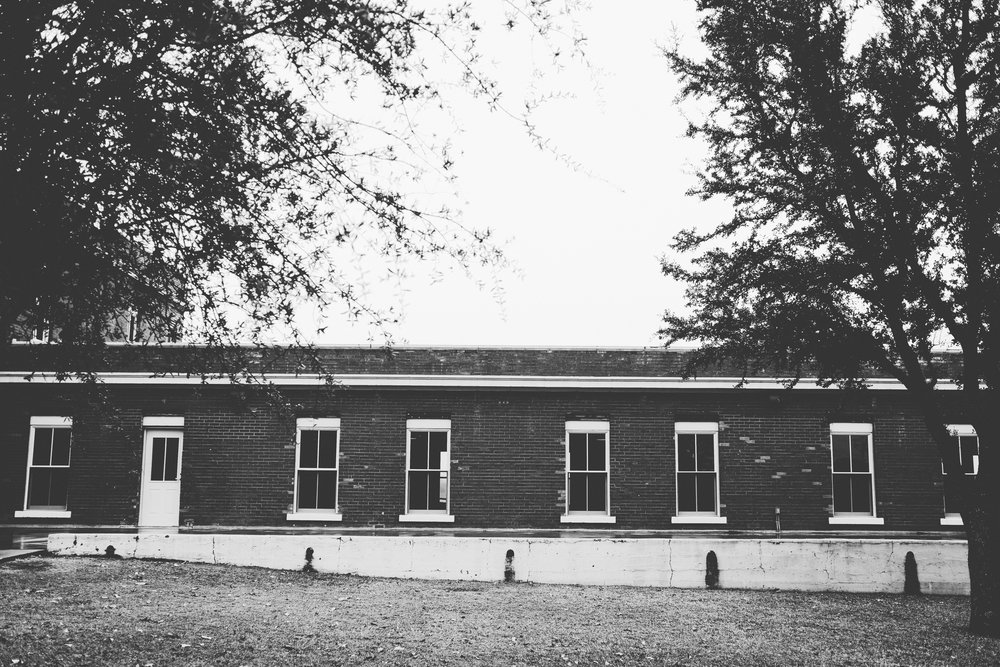 Black and white photograph of The Filter Building, on White Rock Lake, Dallas, Texas.
