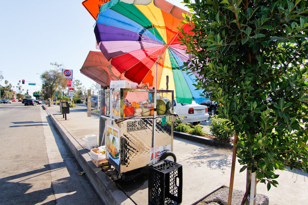 Rainbow Umbrella Fruit Cart