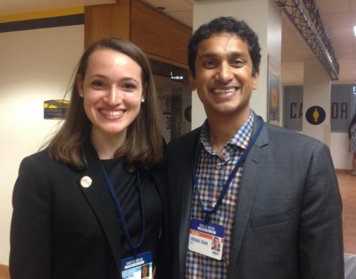 Sam with Premal Shah, President of Kiva.org, at CGIU.  Sam has been involved with Kiva since she was a high school student and Kiva has even written a blog post about her that can be found  here .