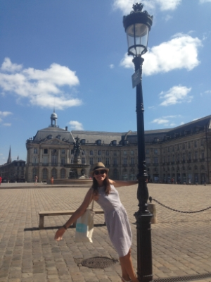 Sam in Bordeaux, France in July 2015 with her MSC Logo Tote and wearing a dress she made herself!