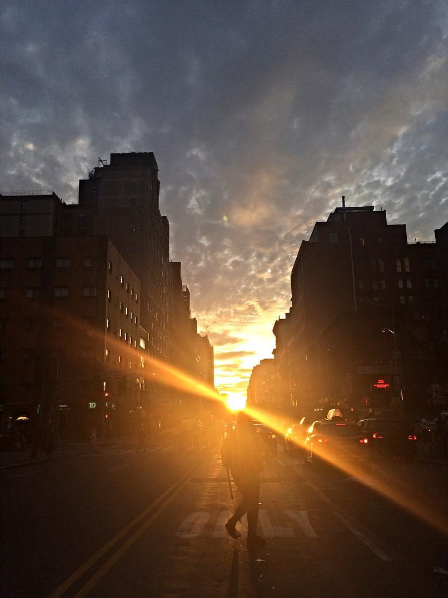 Campus Rep Sara V. got this stunning shot of #Manhattanhenge: finding enjoyment in both NYC and the beautiful sunset!