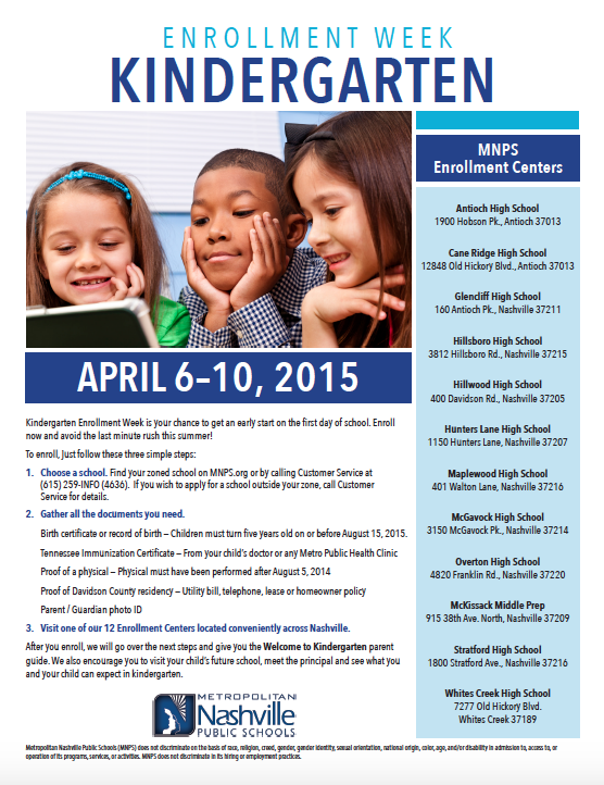 Kindergarten Enrollment Flyer - 2015