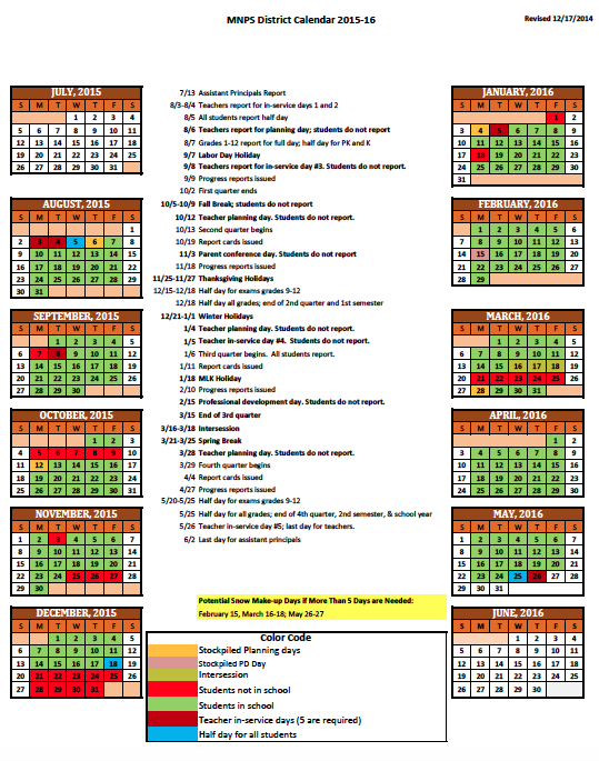 2015-16 District Calendar