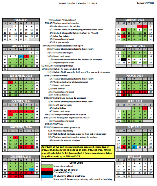 2014-15 District Calendar