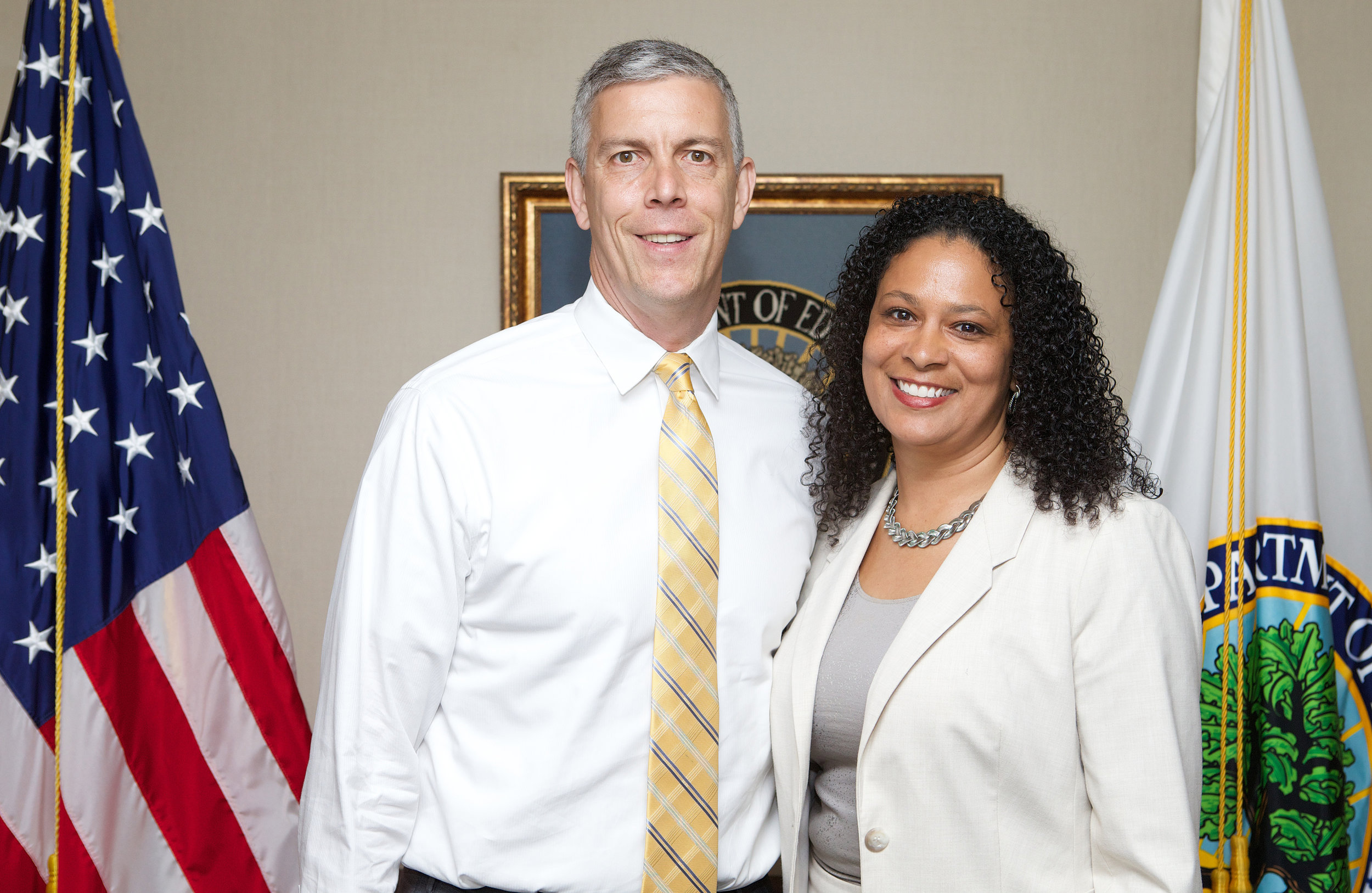 U.S. Secretary of Education Arne Duncan with Pearl-Cohn Principal Sonia Stewart