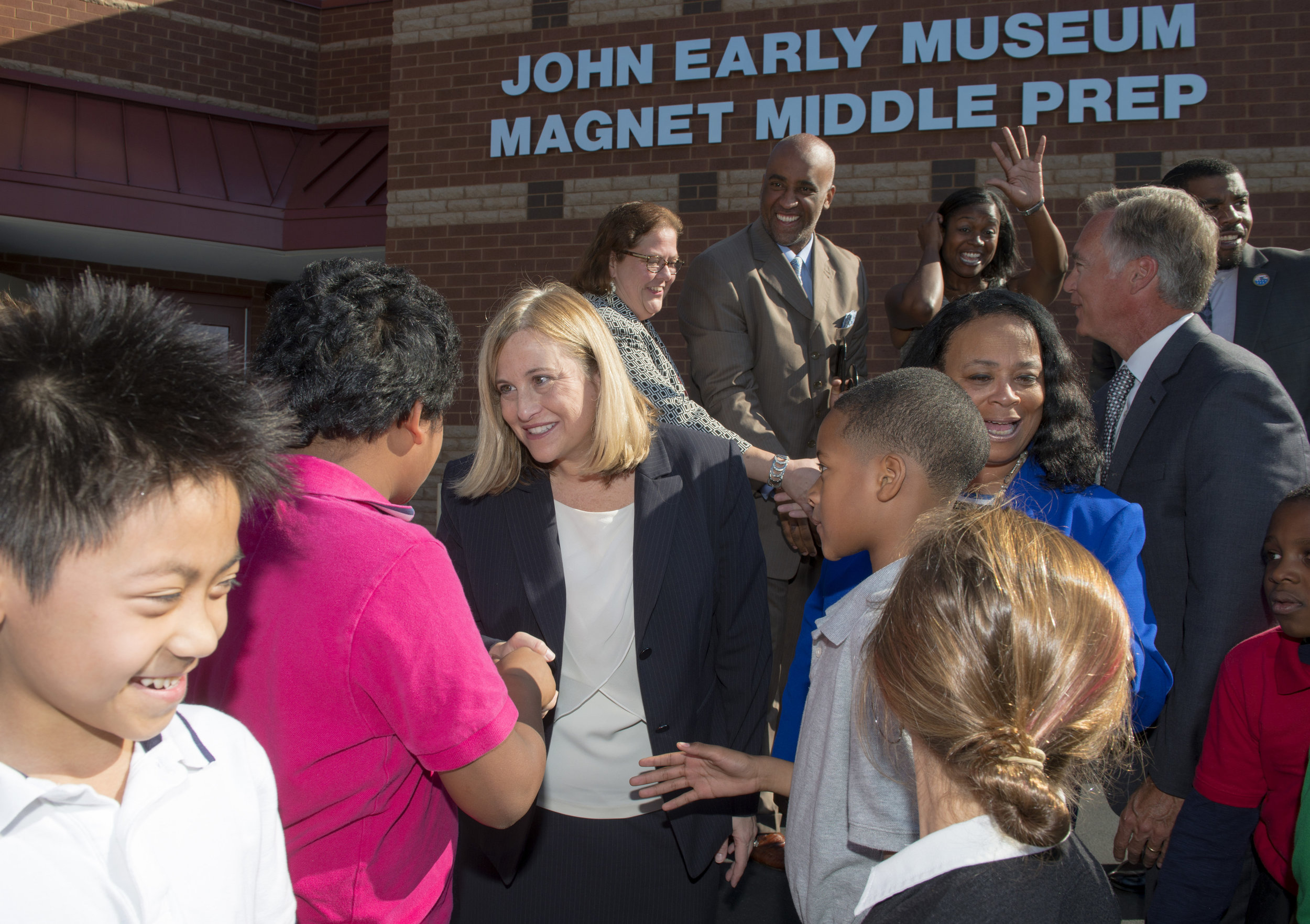 Mayor Megan Barry meets students after cutting the ribbon at John Early Museum Magnet October 22, 2015 in Nashville, Tenn.