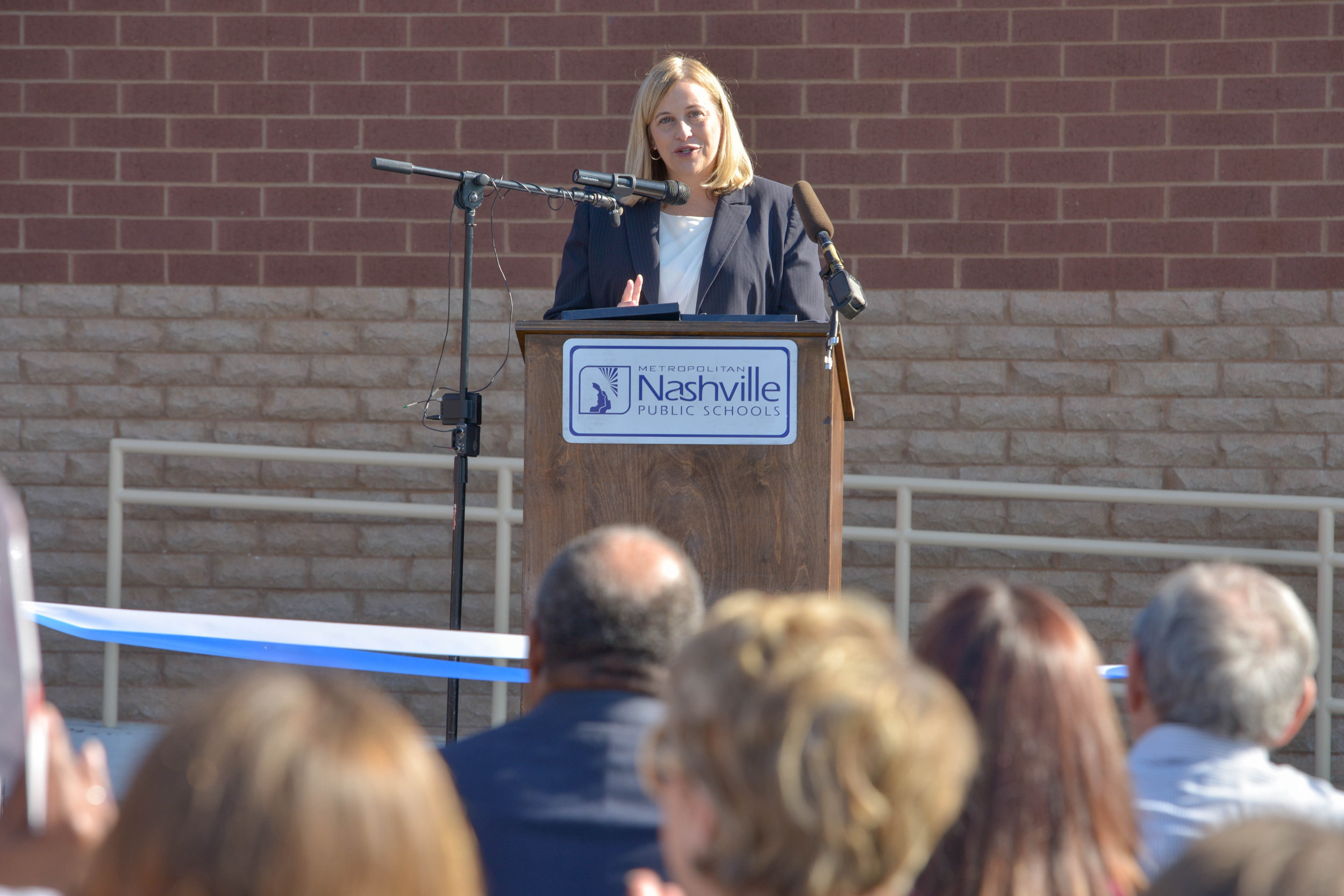 Mayor Megan Barry cuts the ribbon at John Early Museum Magnet October 22, 2015 in Nashville, Tenn.