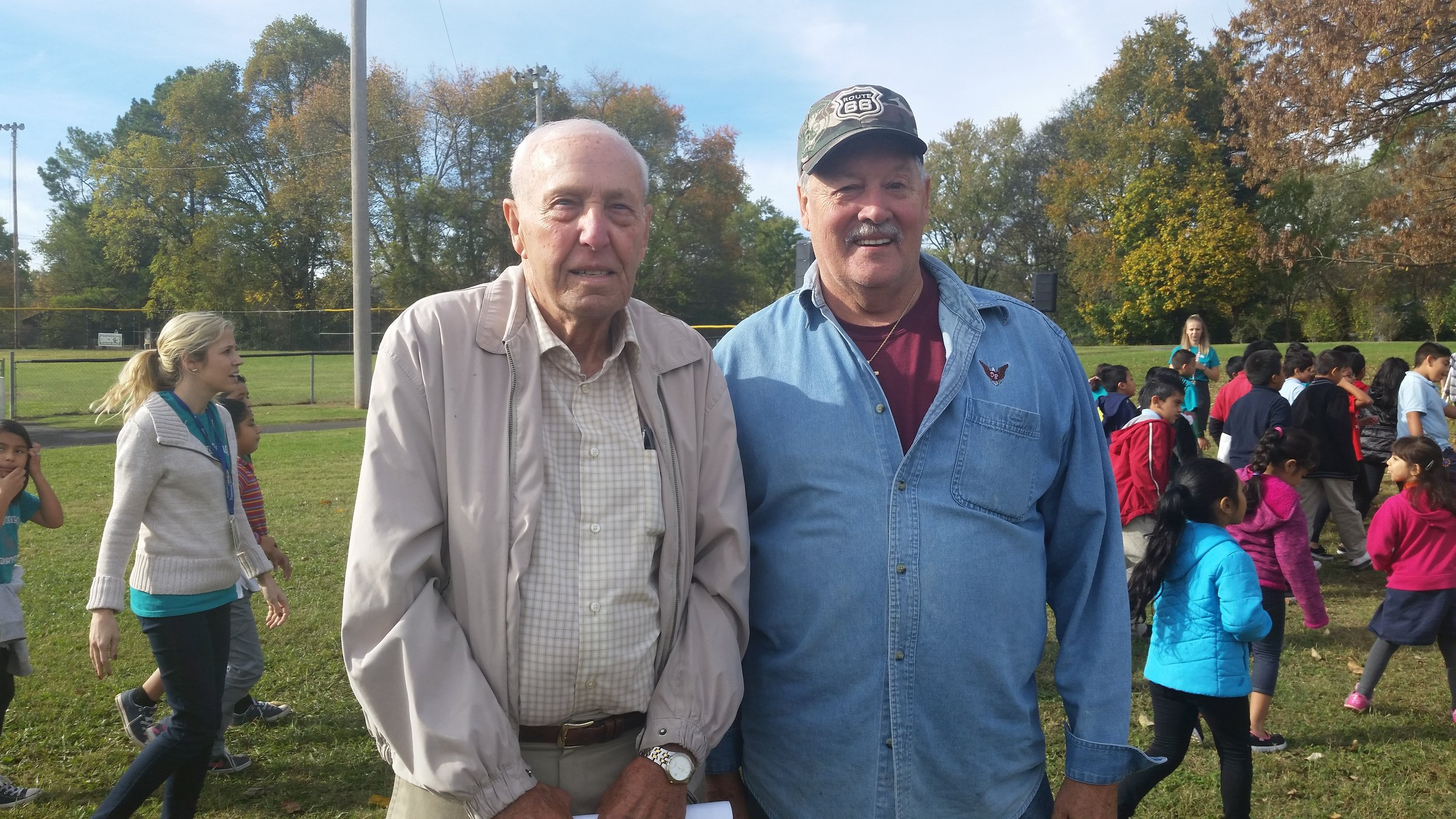 Tusculum School Neighbors Roy Black and Don Brown attended the school's groundbreaking ceremony held October 29.