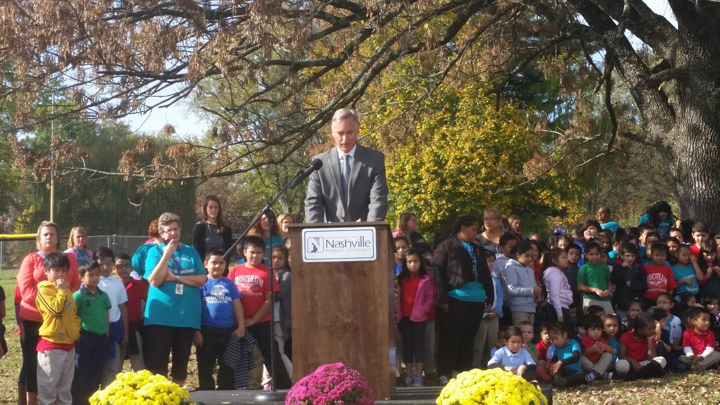 Metro Schools Interim Director of Schools Chris Henson speaks at the Tusculum Elementary School Groundbreaking Ceremony.