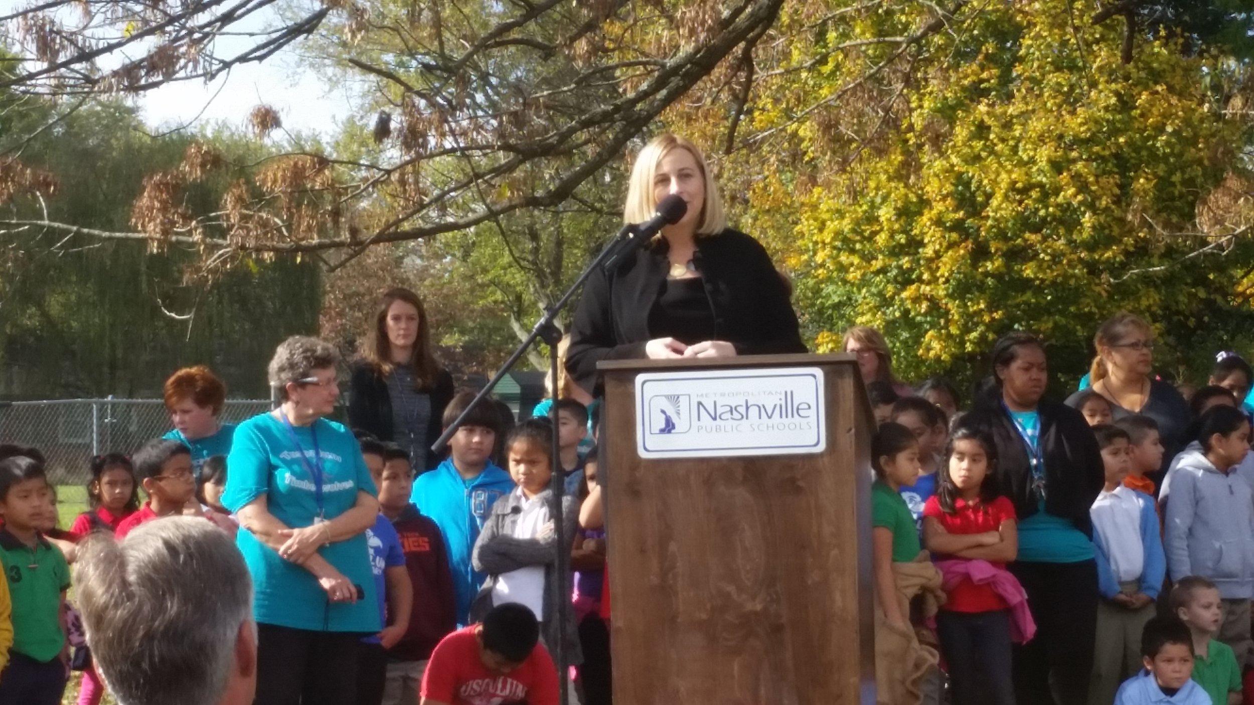 Nashville Metro Mayor Megan Barry speaks at the Tusculum Elementary School Groundbreaking Ceremony held on October 29, 2015.