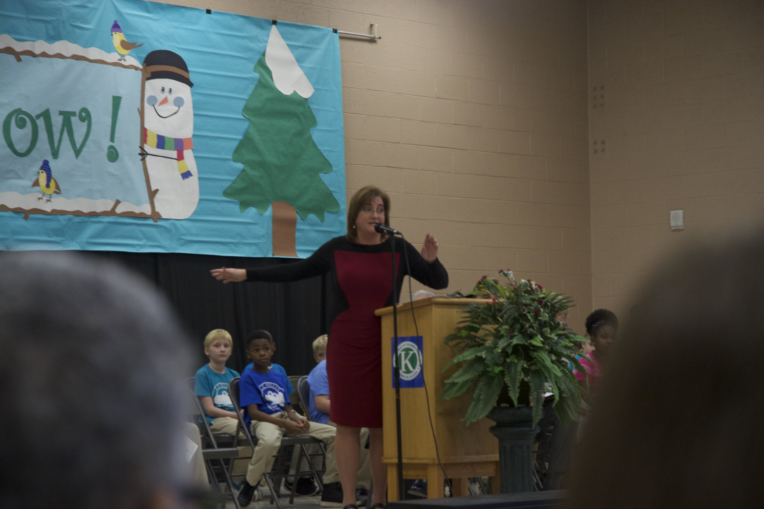 A.Z. Kelley Elementary School Principal Marsha Dunn at the school's 10-Year Anniversary Assembly.
