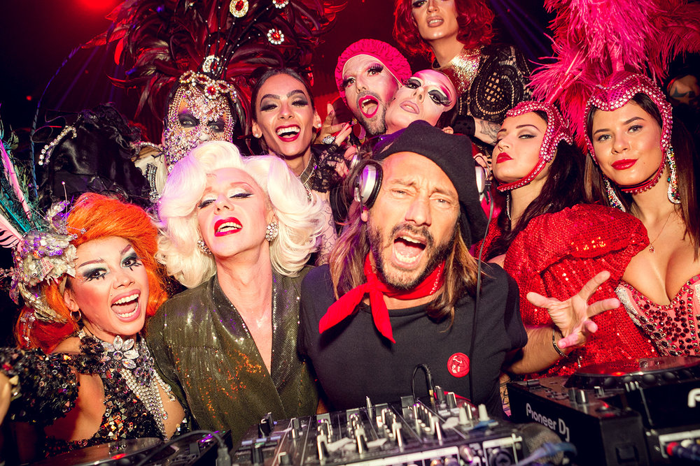 "French DJ Bob Sinclar with his entourage at ""Bob Sinclar Presents Paris by night"""