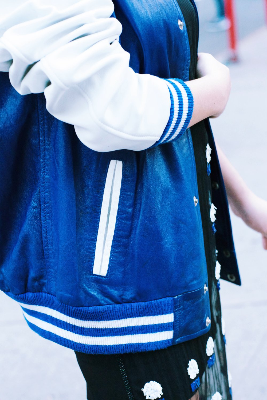 Boyfriend's Varsity Jacket Sustainability Factors: Vintage, Borrowed Behno Pencil Skirt (Worn as Dress) Price: $795 Where to Buy: www.behno.com Sustainability Factors: Artisanal, Fair Trade