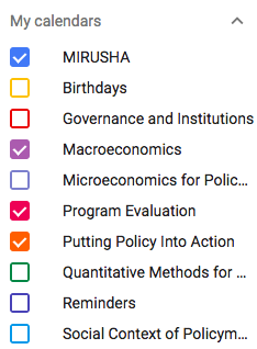 Color coded categories on Google Calendar.