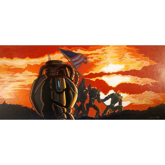 Robots raising the flag. Acrylic on hardboard. 17.5 x 8in. • • • • • • • • #scifi #art #fantasy #war #military #robot #robotics #artist #painting #illustration #artistoninstagram #instaart #pic #picoftheday #love #inspired #passion #life #nyc