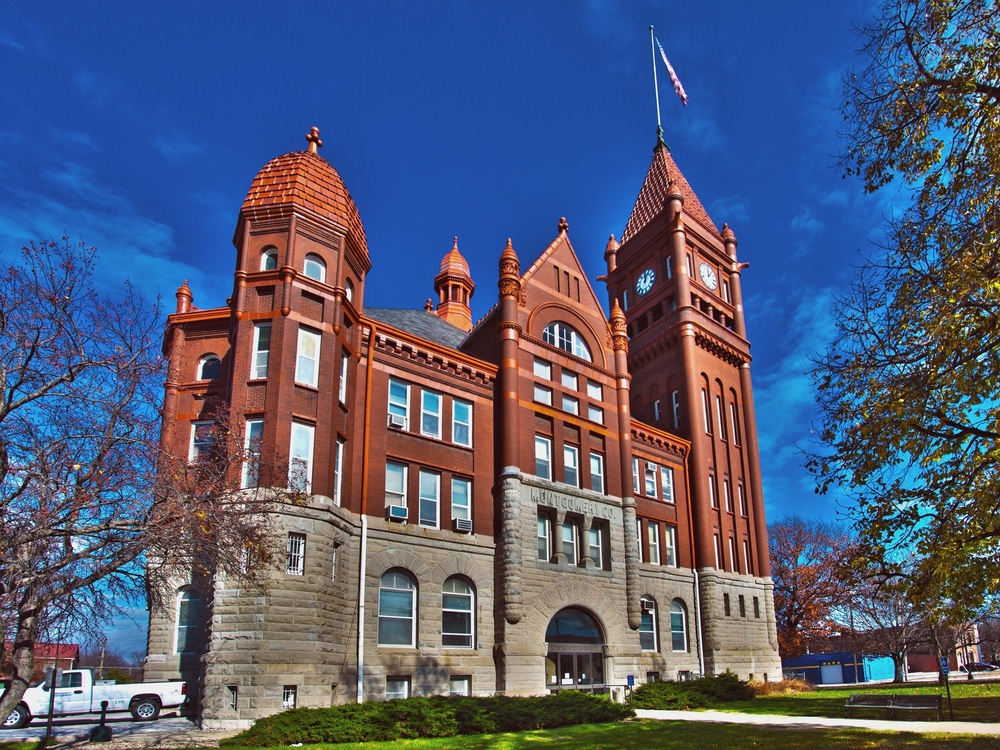 The Montgomery County Courthouse is located in Red Oak, Iowa, one block east of Broadway on Coolbaugh Street.