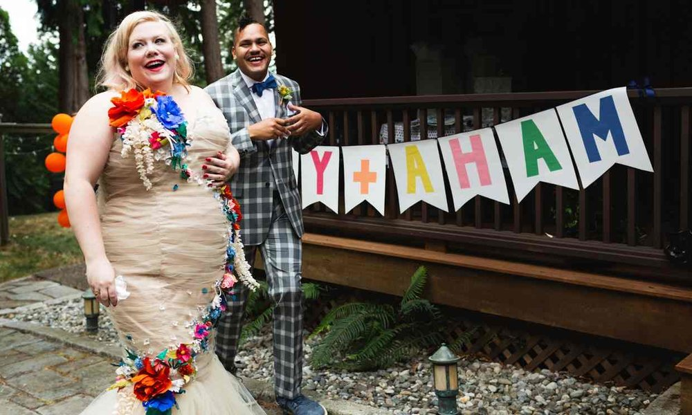 Lindy West at her wedding. Via The Guardian