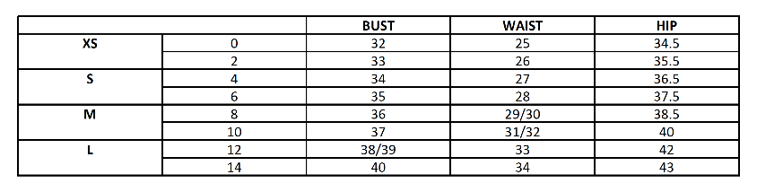 Please use our Standard Size chart for reference when placing orders.
