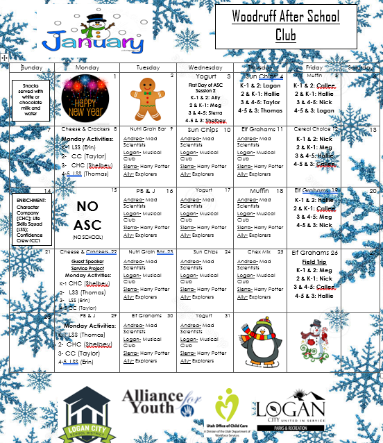 January 2018 Calendar And Newsletter Woodruff Elementary School