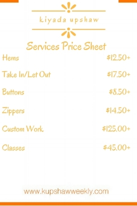 KiYada Upshaw Services Price Sheet