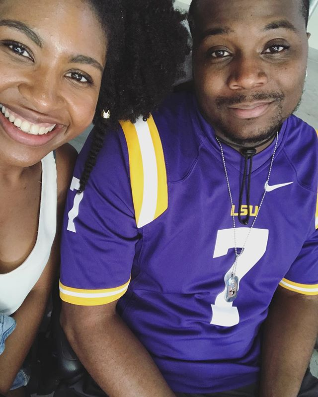 Me: Why do you look like I'm making you take this picture? Him: Because you are 😂#geauxtigers🐯  #beatMiami  #TheUpshawSaga #kupshawweekly