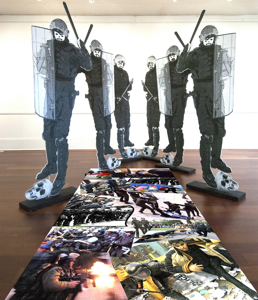 "Excessive Force Installation  Mixed Media Figures 76 x 32"" each"