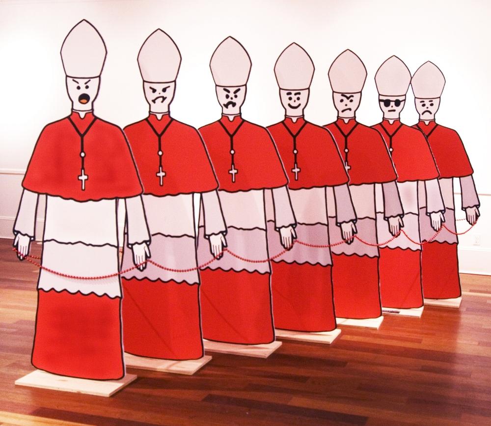 "Cardinals Archival Digital Print and Mixed Media 72""H x 36""W x 24""D each"