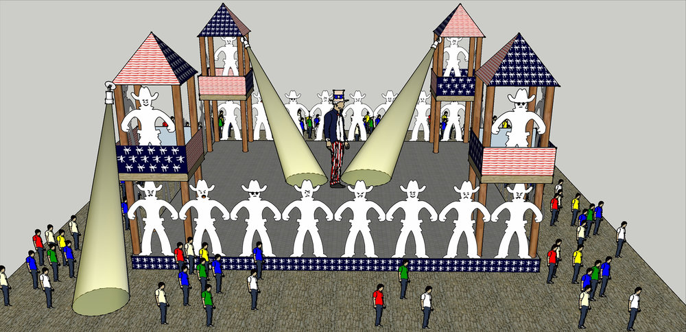 Protecting America's Freedom  Proposed Installation and Performance Space 40 x 40 x 18' Wood, Plastic Board, Barbed Wire and Digital Prints Prison Breakout Spotlights Looped Musical Recording Uncle Sam on stilts patrolling the perimeter of Freedom's Space