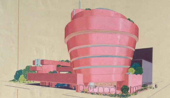 Solomon R. Guggenheim Museum, ink & watercolor on paper. © 2009 The Frank Lloyd Wright Foundation
