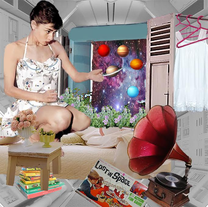 """Bedroom Lost in Space"" Digital Surreal Collage Art, (2016)"