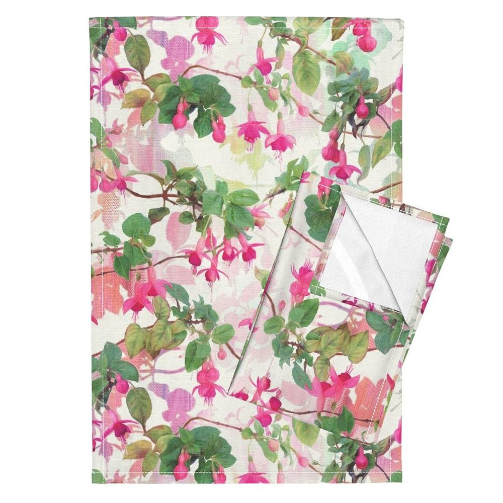 Rainbow Fuchsia Floral Painted Pattern by Micklyn