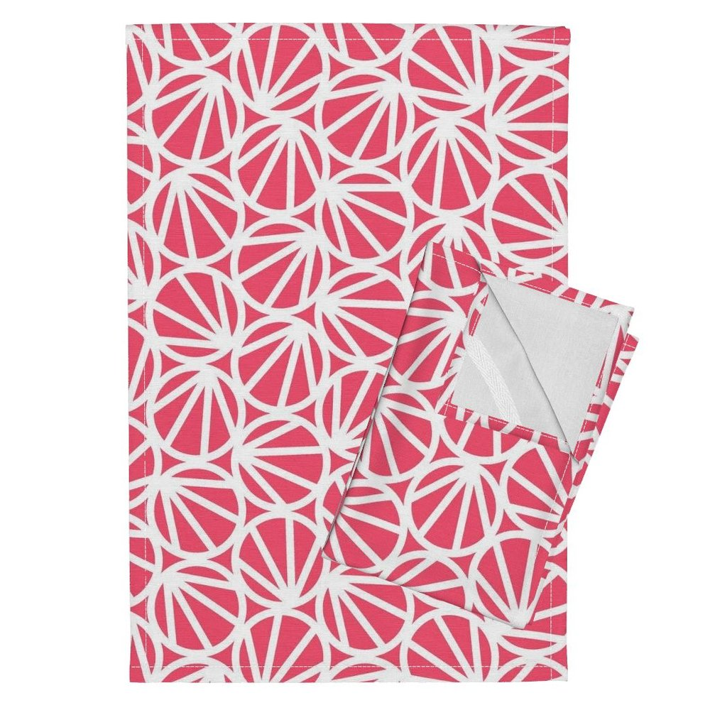 Orpington Tea Towels featuring Mari-Coral Pink by hitomikimura