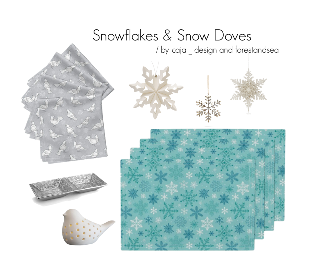 Amarela napkins | Snow Doves by forestandsea / Lamona placemats | Snowflakes Christmas Blue Mint by caja_design / Explore other products on Polyvore