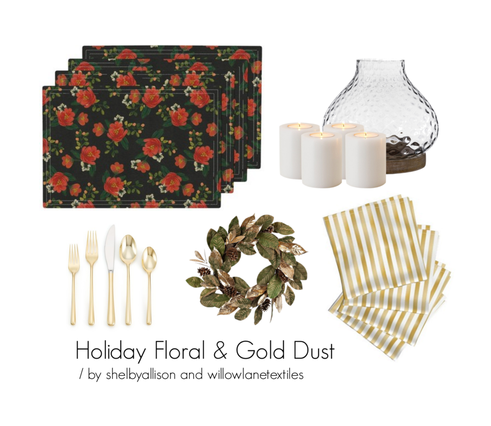 Lamona placemats | Holiday Floral by shelbyallison / Amarela napkins | Gold Dust Metallic Stripe by willowlanetextiles / Explore other products on Polyvore