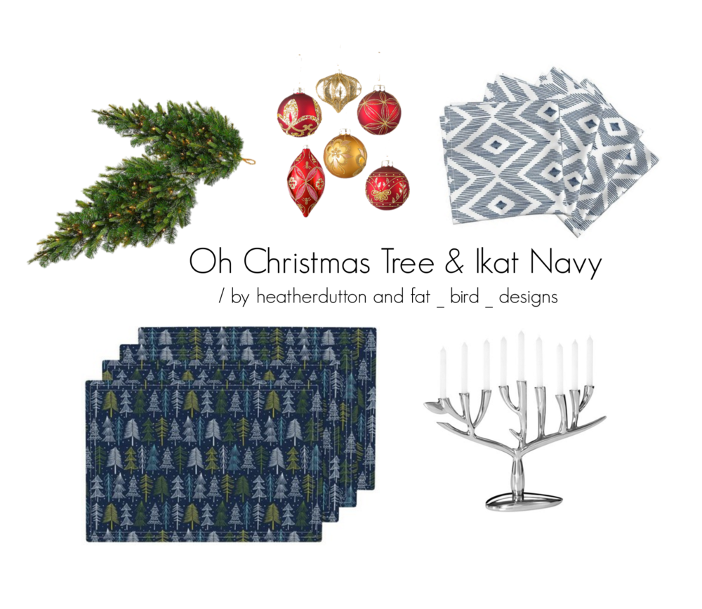 Amarela napkins | Ikat Navy by fat_bird_designs / Lamona placemats | Oh Christmas Tree Navy Blue by heatherdutton / Explore other products on Polyvore