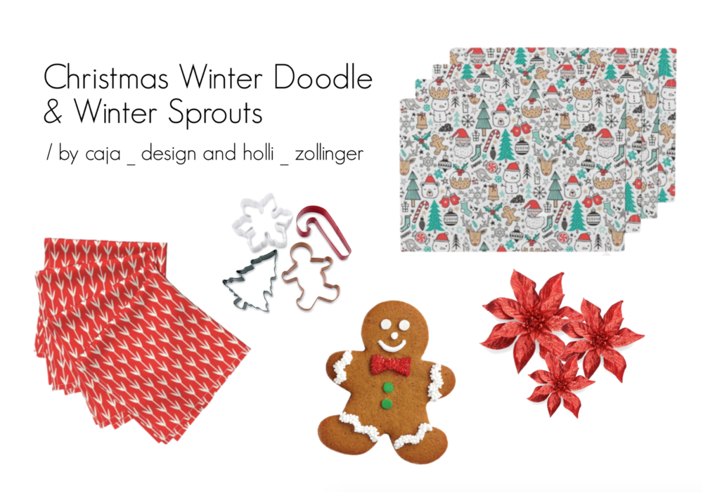 Lamona placemats | Xmas Christmas Winter Doodle with Snowmen, Santa, Deers, Snowflakes, Trees Mittens by caja_design  /  Amarela napkins | Winter Sprouts by holli_zollinger  / Explore other producs on  Polyvore