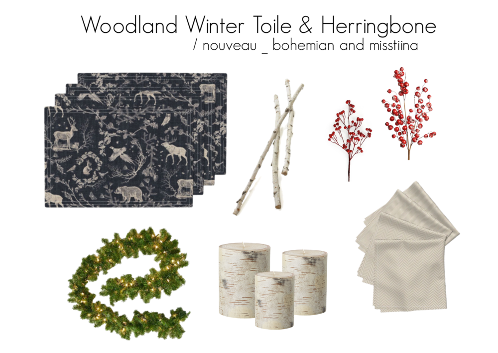 Lamona placemats | Woodland Winter Toile (in Coal) by nouveau_bohemian  /  Amarela napkins | herringbone tan by misstina  / Explore other products on  Polyvore