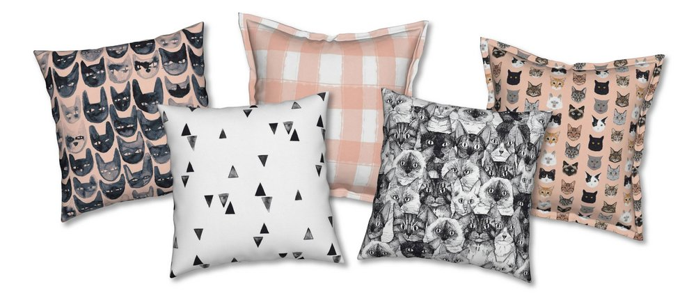 Black Cat Faces Catalan Pillow by MsJordanKay; Watercolor Triangles Catalan Pillow by TaraPut; Watercolor Check in Coral Serama Pillow by AverieLaneBoutique; Just Cats Catalan Pillow by Scrummy; Cat Faces Serama Pillow by PetFriendly