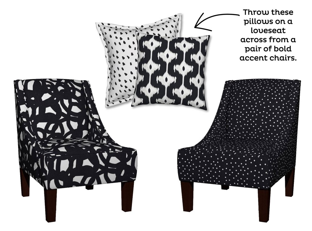Freestyle in Black Venda Chair by Domesticate; Painted Black Dots on White Serama Pillow by WeeGallery; Ikat Offset Diamond Catalan Pillow by Fable_Design; Polka Dot White on Black Venda Chair by  PencilMeIn